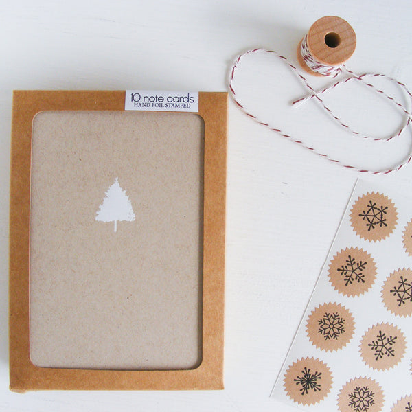 kraft christmas tree folded notecards