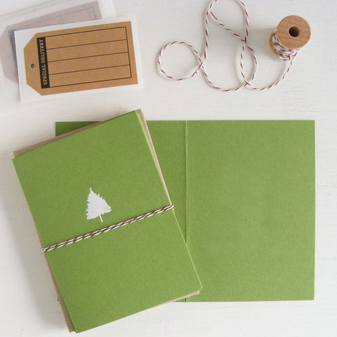moss green christmas tree folded notecards