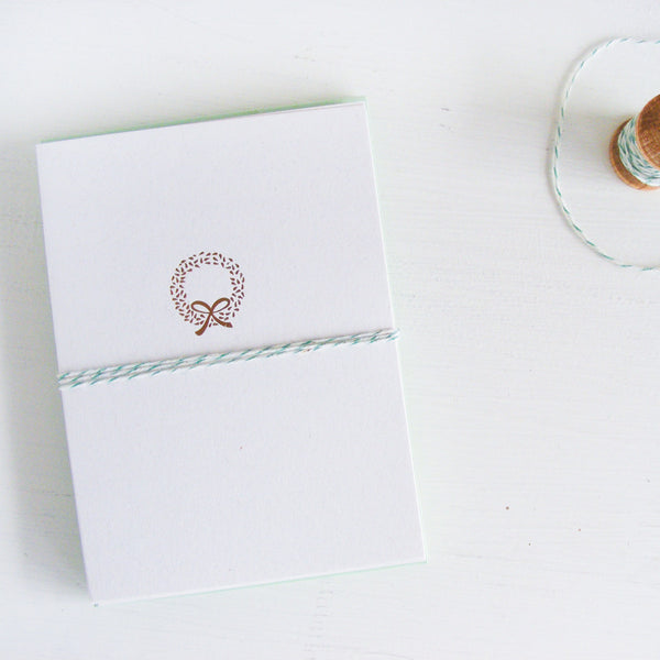 gold wreath folded notecards