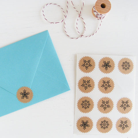 tiny kraft starburst stickers - snowflakes