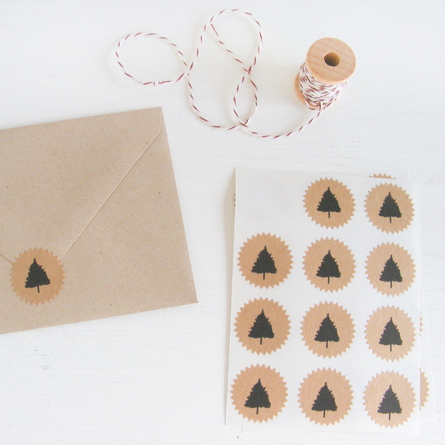 tiny kraft starburst stickers - christmas trees