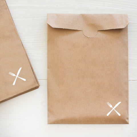 fork and knife kraft bags