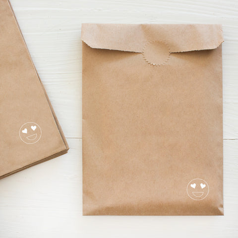 heart eyes kraft bags