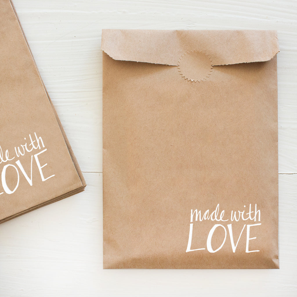 made with love kraft bags