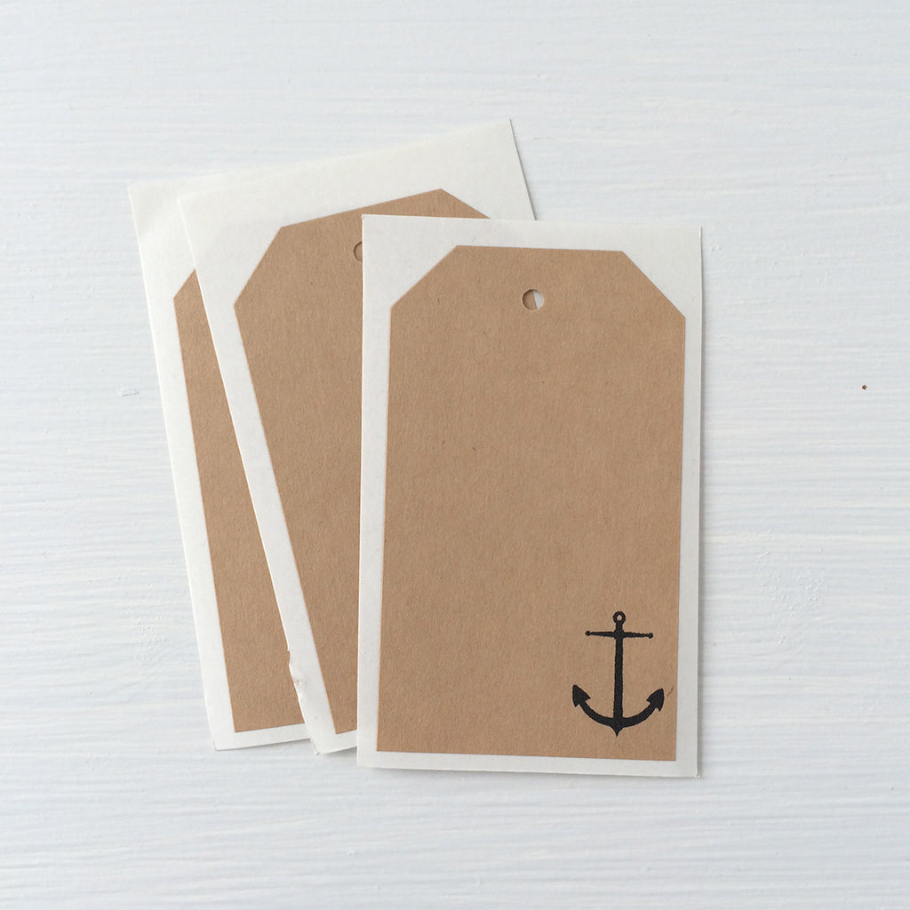 kraft shipping tag stickers - anchor