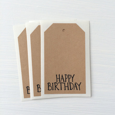kraft shipping tag stickers - birthday