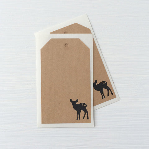 kraft shipping tag stickers - deer