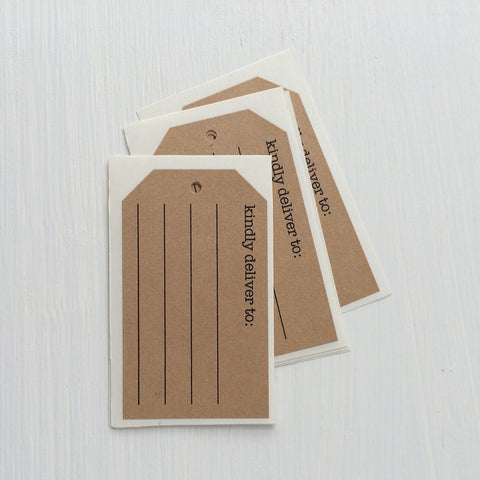 kraft shipping tag stickers - kindly deliver