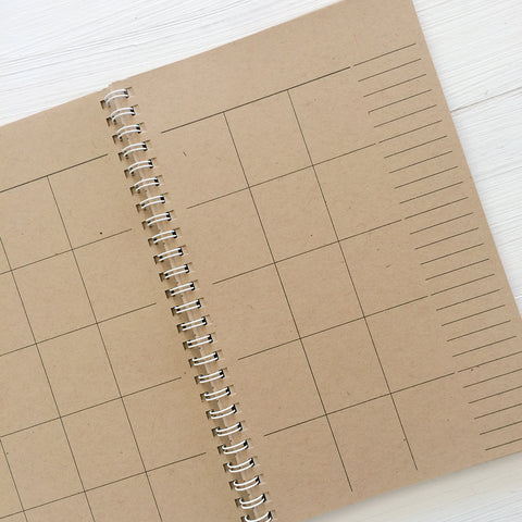 undated small kraft monthly spiral planner