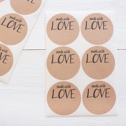 2 inch circle stickers - made with love