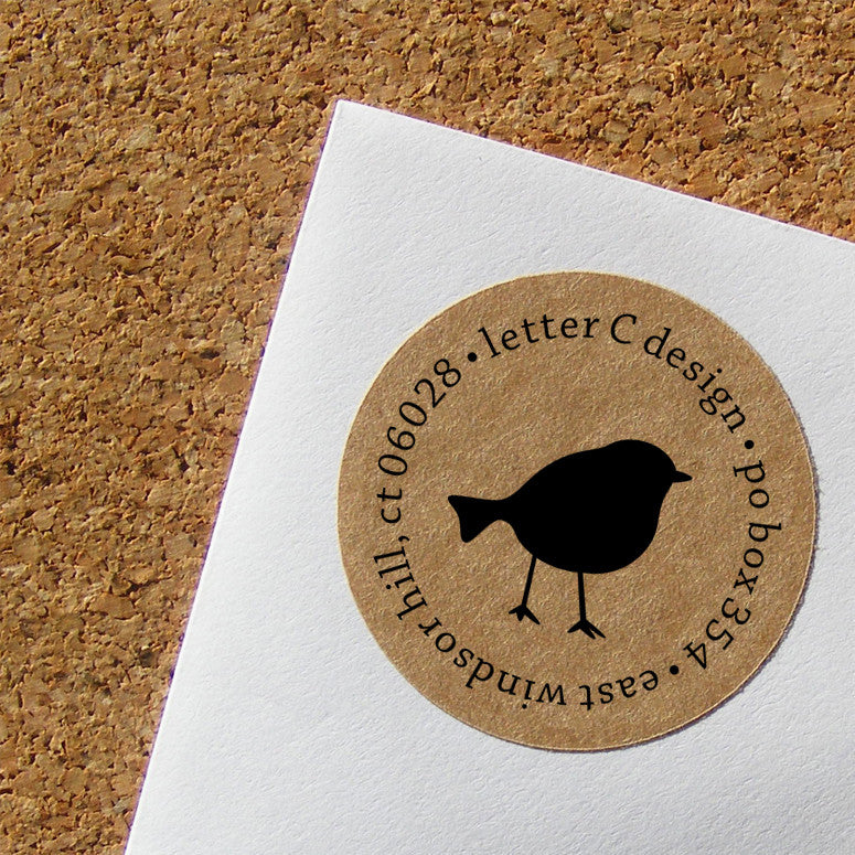 kraft little bird address labels