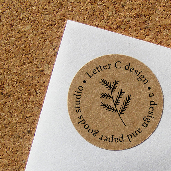 kraft address labels evergreen leaf