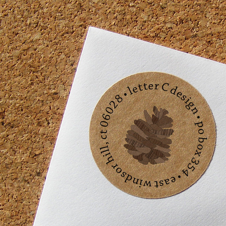 kraft pinecone address labels