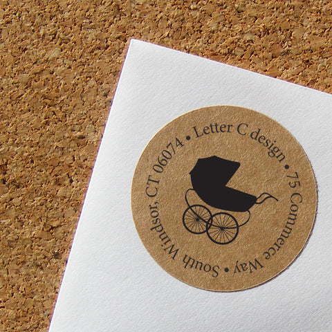 baby carriage kraft address labels