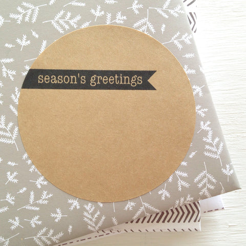kraft large circle sticker - season's greetings