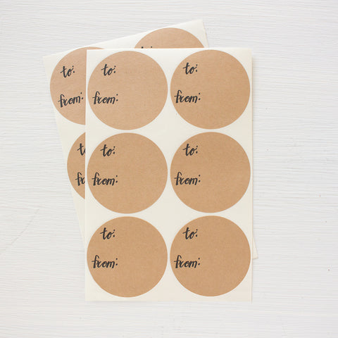 2 inch circle stickers - to from gift labels