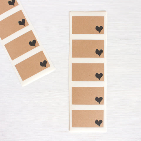 kraft labels - hearts