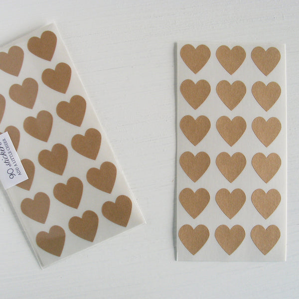 kraft mini heart stickers