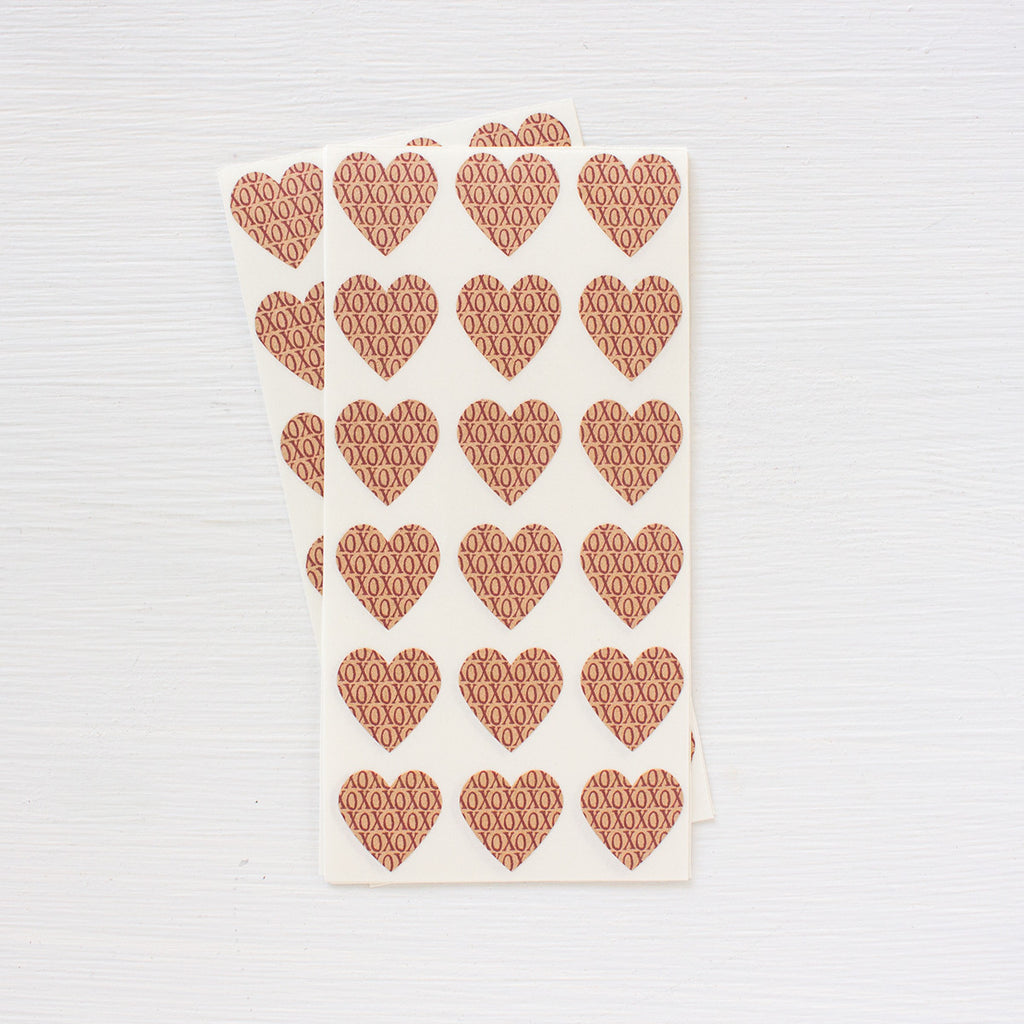 kraft mini heart stickers - xoxox