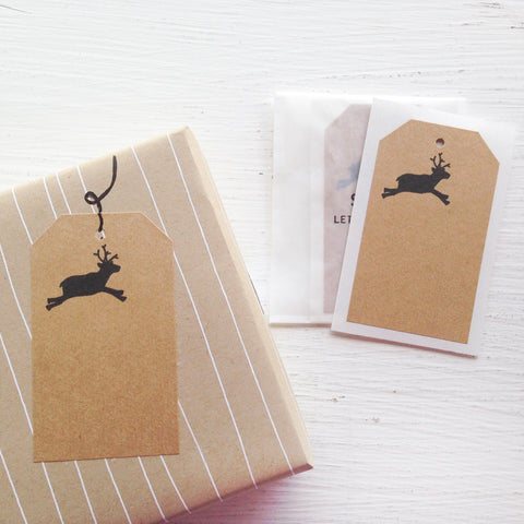 kraft shipping tag stickers - reindeer