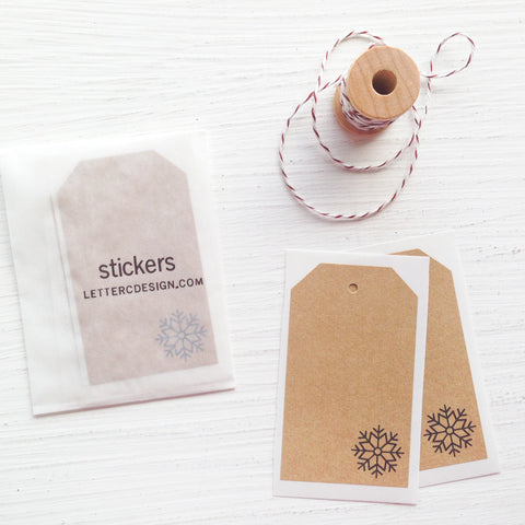 kraft shipping tag stickers - snowflake