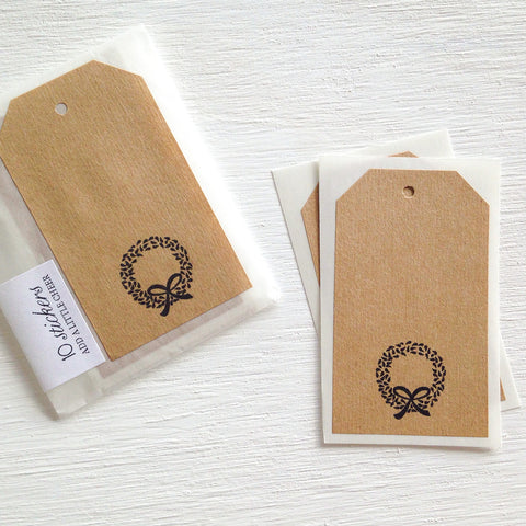 kraft shipping tag stickers - wreath