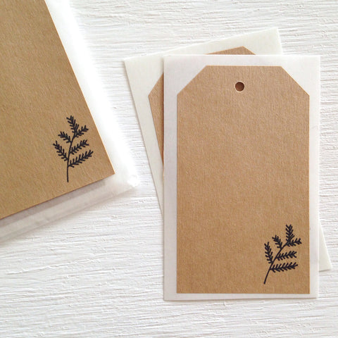 kraft shipping tag stickers - evergreen leaf