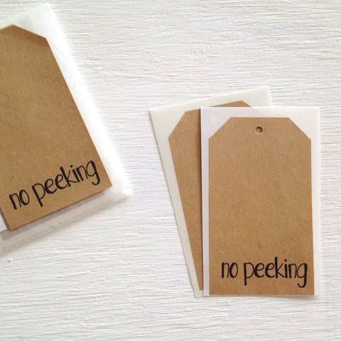 kraft shipping tag stickers - no peeking