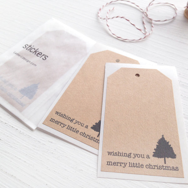 kraft shipping tag stickers - christmas tree
