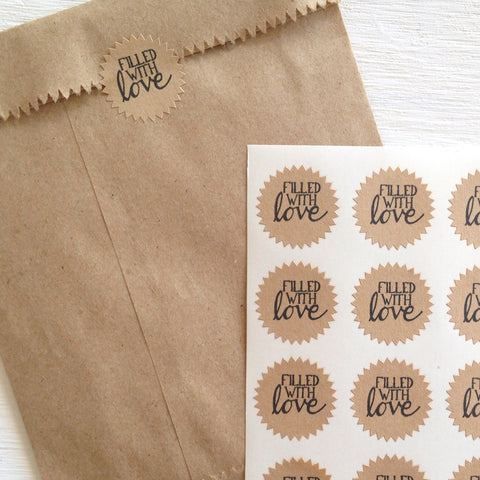 tiny kraft starburst stickers - filled with love