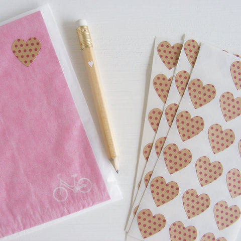 kraft mini heart stickers - swiss dots