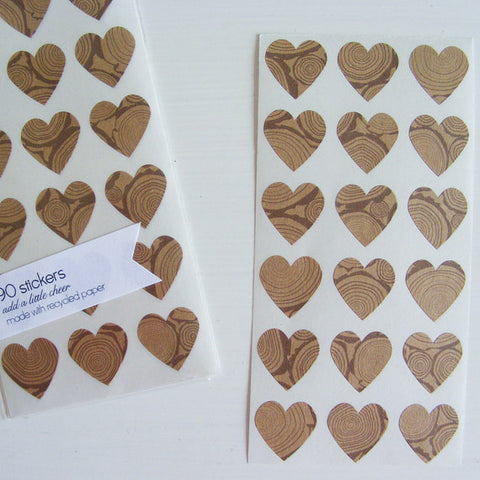 logs mini heart stickers