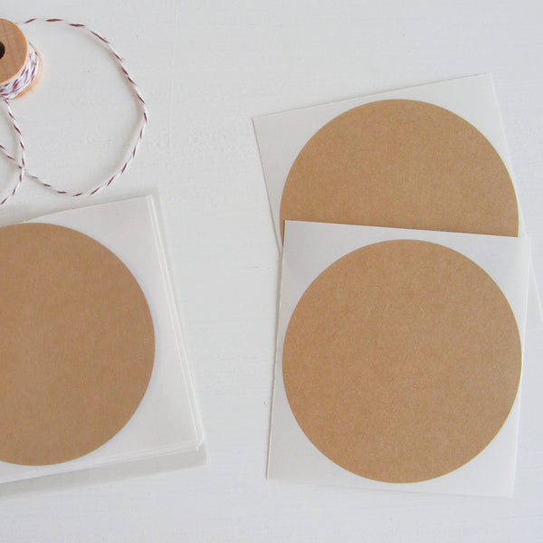 kraft large circle stickers