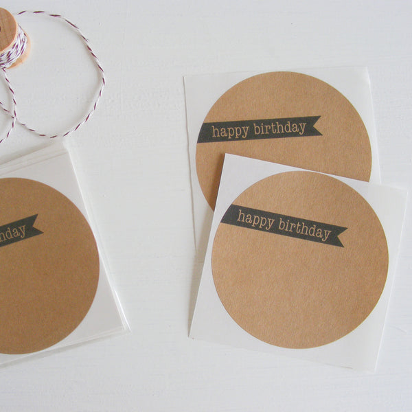 kraft large circle sticker - happy birthday