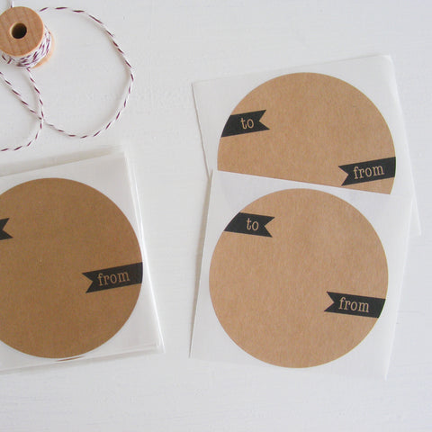 kraft large circle sticker - gift label