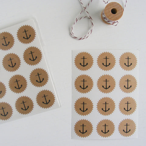 tiny kraft starburst stickers - anchors