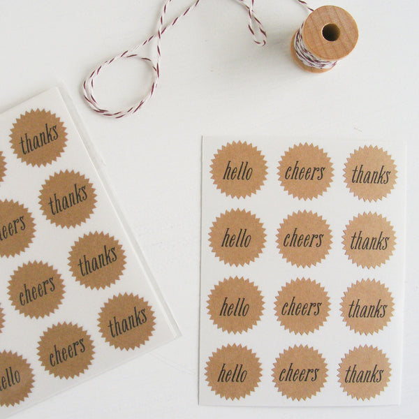 tiny kraft starburst stickers - correspondence