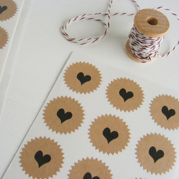 tiny kraft starburst stickers - hearts