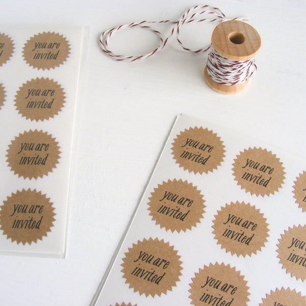 tiny kraft starburst stickers - invited
