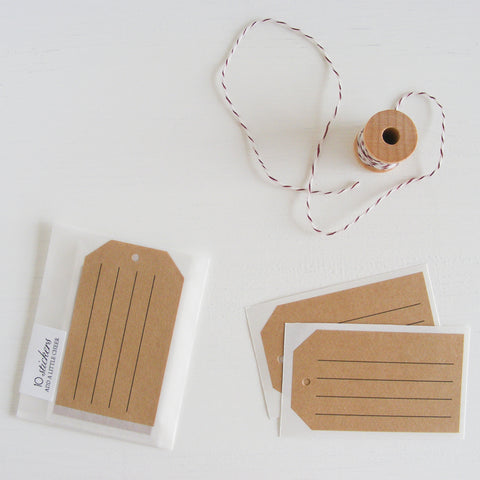 kraft shipping tag stickers - lined