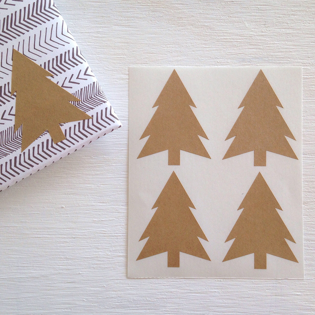 kraft christmas tree stickers