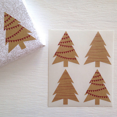 festive kraft christmas tree stickers