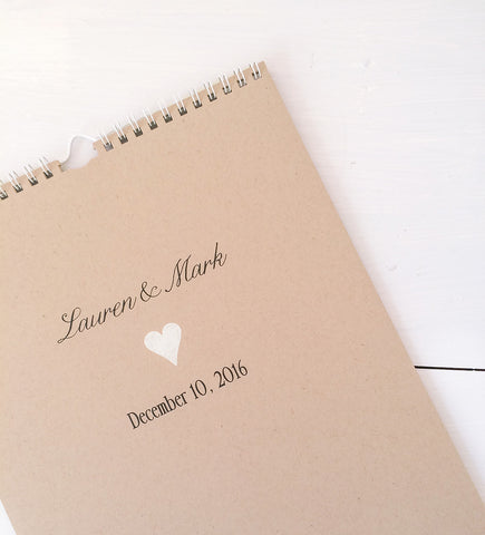 kraft personalized wedding guest book calendar