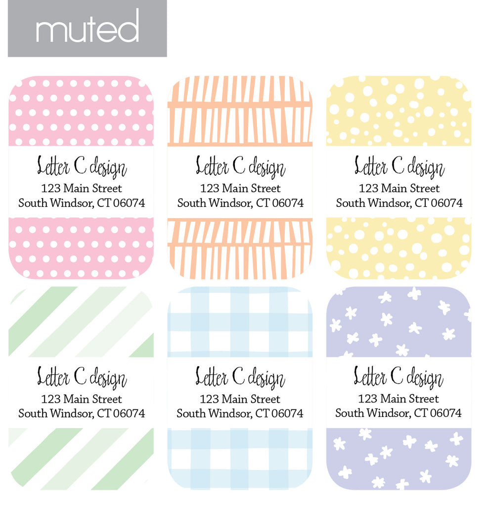 dots and lines assorted address label book letter c design