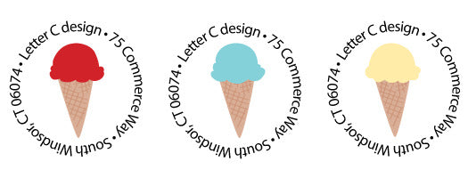 address labels ice cream cones