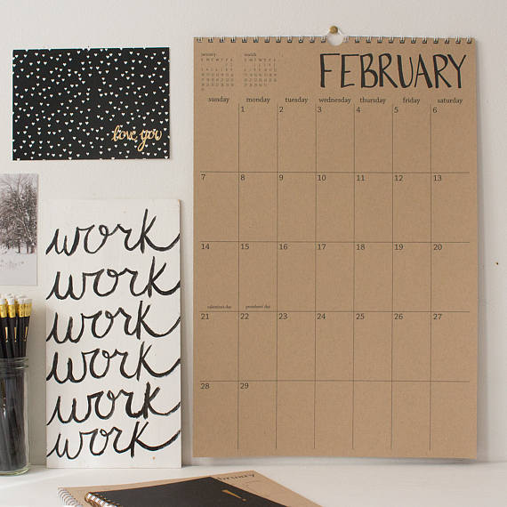large 18 month kraft wall calendar - start any month