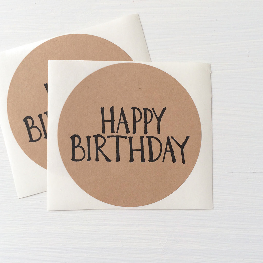 kraft large circle stickers - happy birthday