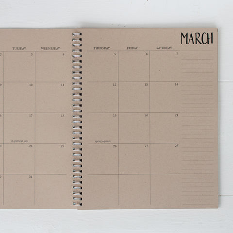 2019 / 2020 large kraft monthly academic spiral planner | 2 pages per month