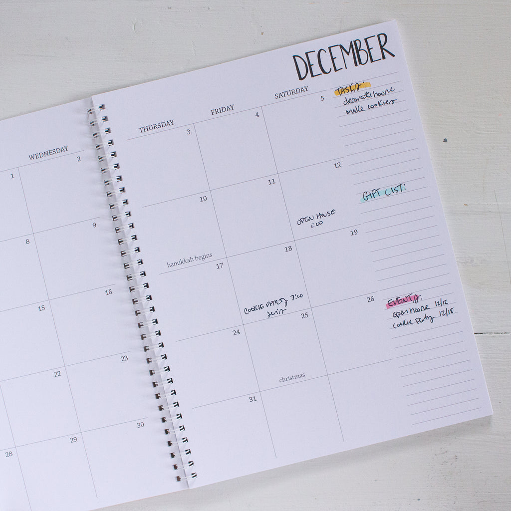 2020 large monthly spiral planner | 2 pages per month