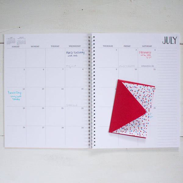 2 year large monthly spiral planner - start any month | 2 pages per month